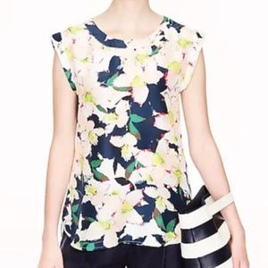 J. CREW Sleeveless Drapey Top Floral SILK Pink 00